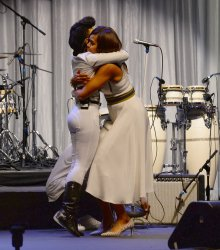First Lady Michelle Obama addresses Grammy Museum's education luncheon in Los Angeles