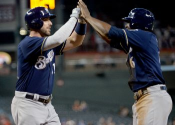 Brewers' Shaw is congratulated by Cain after hitting two run home run