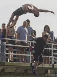 28th Annual Polar Bear Jump attracts jumpers from across Washington State to Olalla.