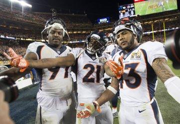 Broncos Jackson, Talib, and Ward celebrate at Super Bowl 50