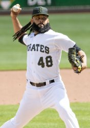 Pirates Richard Rodriguez Throws in the Ninth Inning