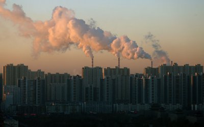 Smoke billows from coal-powered electric power plants in Datong, China