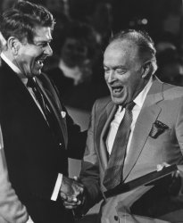 Presiden Reagan Shakes Hands with Bob Hope