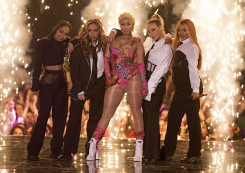 Nicki Minaj and Little Mix perform at the MTV Europe Music Awards in Bilbao