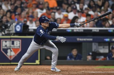 Rays Adames singles during American League division game two in Houston