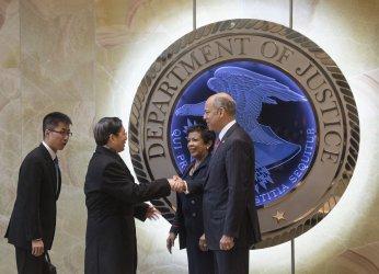 AG Lynch and Homeland Security Secretary Johnson greet China's Guo Shengkun