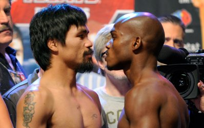 Manny Pacquiao and Timothy Bradley face during weigh-in for WBO Welterweight Title Fight in Las Vegas