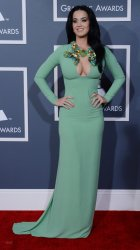 Katy Perry arrives at the 55th annual Grammy Awards in Los Angeles
