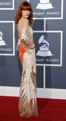 Florence Welch arrives at the 53rd annual Grammy Awards in Los Angeles