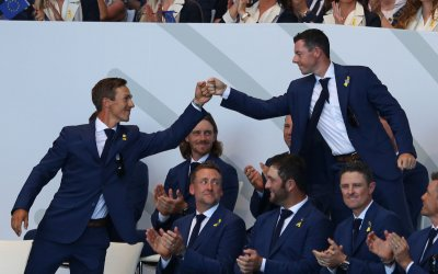Thorbjorn Olesen and Rory McIlroy at the Ryder Cup 2018 Opening Ceremony