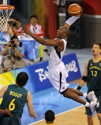 USA vs Australia men's basketball quarterfinals action in Beijing