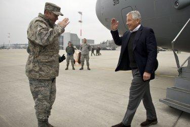 Secretary of Defense Hagel visits Afghanistan