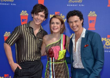 Ross Lynch, Kiernan Shipka and Gavin Leatherwood attend the MTV Movie & TV Awards in Santa Monica, California