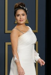 Salma Hayek backstage at the 92nd annual Academy Awards in Los Angeles