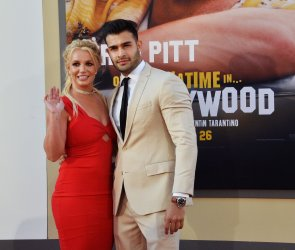 """Britney Spears and Sam Asghari attend the """"Once Upon A Time... In Hollywood"""" premiere in Los Angeles"""