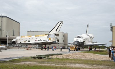 "NASA's Space Shuttles ""Atlantis"" and ""Discovery"" continue modification at the Kennedy Space Center"