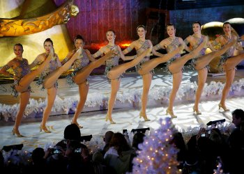 The Rockettes performs at Rockefeller Center Christmas Tree lighting ceremony in New York