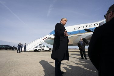 President Trump speaks before boarding Air Force One at Andrews
