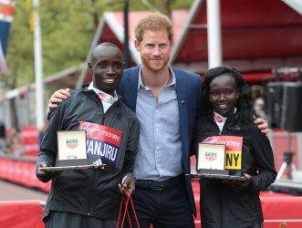 London Marathon Winners Kenyan Daniel Wanjiru and Mary Keitany with His Royal Highness Prince Harry
