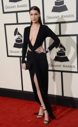 Bella Hadid arrives for the 58th annual Grammy Awards in Los Angeles