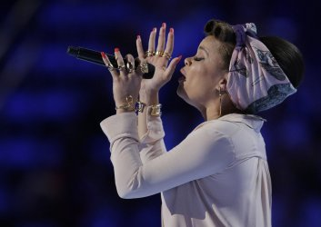 Vocalist Andra Day performs at the DNC convention in Philadelphia