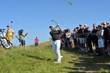 Louis Oosthuizen on the second day of the 149th Open Championship at Royal St George's.