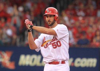 St. Louis Cardinals Adam Wainwright doubles