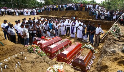 Mass Burial For Bombings Victims of Sri Lanka Bombings