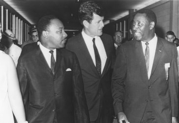 Sen. Edward Kennedy meets with Dr. Martin Luther King Jr. and Charles Evers