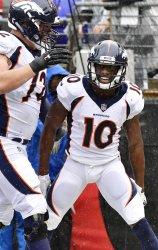 Broncos' Emmanuel Sanders celebrates 35-yard TD against Ravens during an NFL game in Baltimore