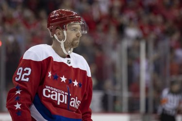 Washington Capitals center Evgeny Kuznetsov reacts