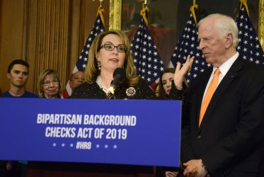 Gaby Giffordsi attends gun safety legislation event in Washington
