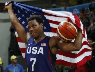 Kyle Lowry of the United States celebrates at Rio Olympics