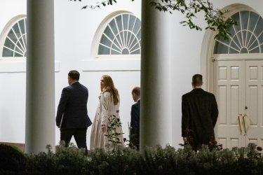 President Donald Trump arrives at White House