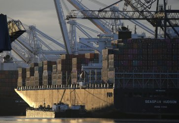 Shipping Containers Are Stacked on a Cargo Ship in New Jersey