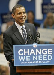 Barack Obama addresses a rally in Coral Gables, Florida