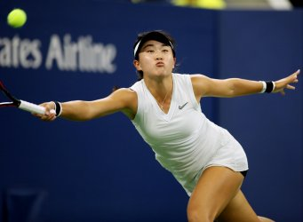 Lin Zhu returns the serve at the US Open