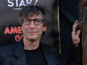"Neil Gaiman attends the ""American Gods"" premiere in Los Angeles"