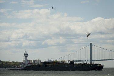 Space shuttle Enterprise flies over New York
