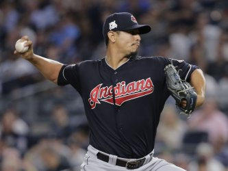 Indians Carlos Carrasco throws pitch in 2017 MLB Playoffs American League Divisional Series Game 3