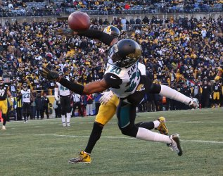 Jacksonville Jaguars Jalen Ramsey breaks up a pass intended for Pittsburgh Steelers Antonio Brown