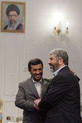 Iran's President Mahmoud Ahmadinejad meets leader of the Islamic group Hamas Khaled Meshaal in Tehran
