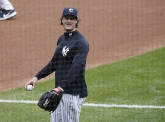 Yankees Players Warm Up for Opening Day at Yankee Stadium