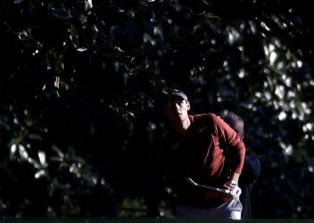 Thomas Pieters hits to the 18th hole at the Masters