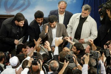 IRAN'S PRESIDENT MAHMOUD AMADINEJAD HOLDS A PRESS CONFERENCE
