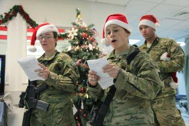 Army soldiers sing Christmas Carols in Afghaistan