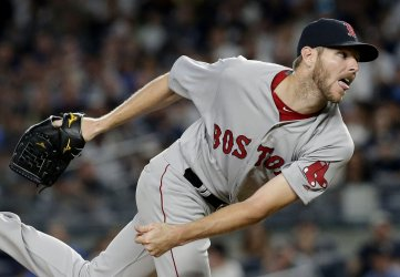 Red Sox starting pitcher Chris Sale throws a pitch