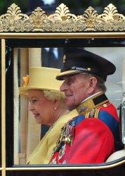 Queen Elizabeth II and the Duke of Edinburgh leave Westminster Abbey in London