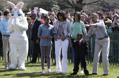 President Obama participates in the White House Easter Egg Roll.