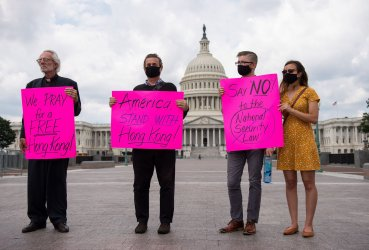 Activist protest against China's new law on Hong Kong at the U.S. Capitol